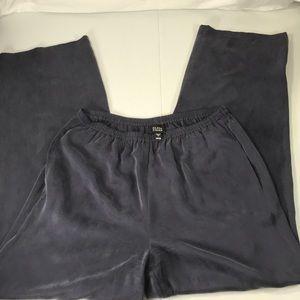 Eileen Fisher blue 100% silk wide leg pants small